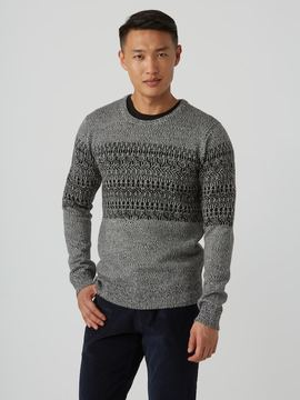 Frank and Oak Wool-Blend Jacquard Sweater in Mixed Black