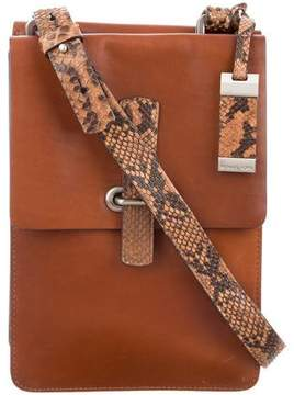 Michael Kors Snakeskin-Trimmed Leather Messenger Bag - BROWN - STYLE