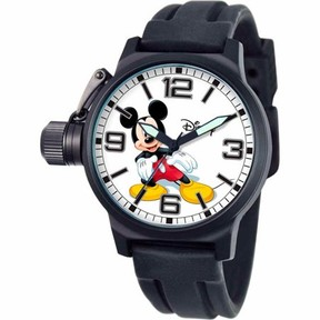 Disney Mickey Mouse Men's Crown Protector Watch, Black Strap