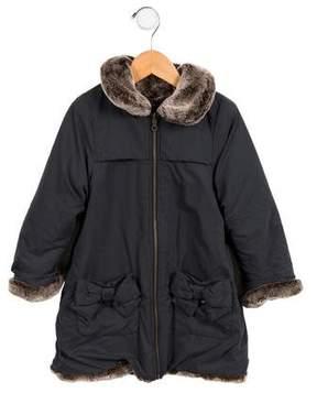 Lili Gaufrette Girls' Reversible Faux Fur Coat