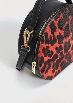 Violeta BY MANGO Leopard leather cross body bag