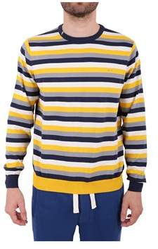 Sun 68 Men's Blue/yellow Cotton Sweater.