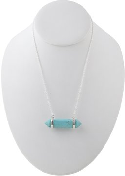 Barse Genuine Turquoise Magnesite Stone Bar Pendant Sterling Silver Necklace