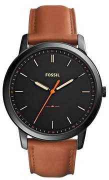 Fossil Men's Minimalist Leather Strap Watch, 44Mm