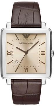 Emporio Armani Square Leather Strap Watch, 38Mm