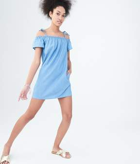 Aeropostale Chambray Off-The-Shoulder Shift Dress