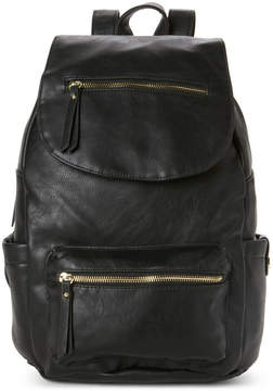 Madden-Girl Black Faux Leather Backpack