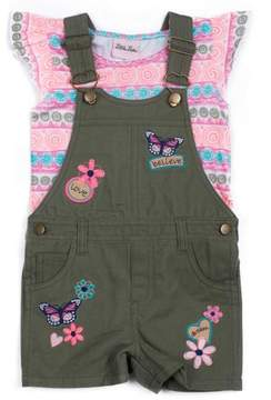 Little Lass Little Girls' 4-6X Ruffle Sleeve Top and Butterfly Print Shortall 2-Piece Set