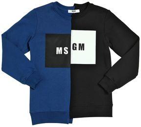 MSGM Logo Two Tone Cotton Sweatshirt