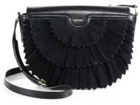 Agnona Polette Fringed Suede & Leather Saddle Bag