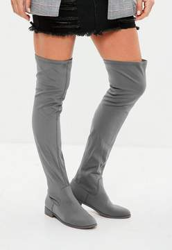 Missguided Gray Over The Knee Flat Sole Boots