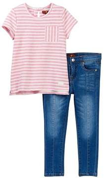 7 For All Mankind Striped Tee & Skinny Jeans Set (Toddler Girls)