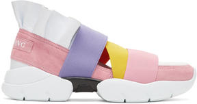 Emilio Pucci Pink and White Colorblock Hong Kong Ruffle Slip-On Sneakers