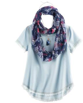 Self Esteem Girls 7-16 Fray Edge Tee & Infinity Scarf Set with Necklace