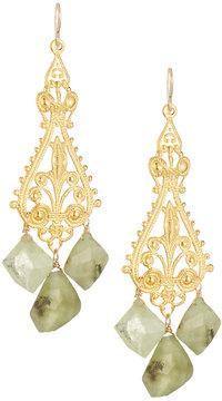 Devon Leigh Ornate Filigree Drop Earrings w/ Green Garnets