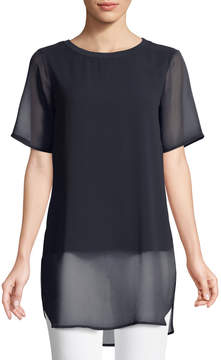 Joan Vass Mixed-Media Crewneck Chiffon Tee
