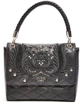 GUESS Alessia Embroidered Top Handle Flap Bag