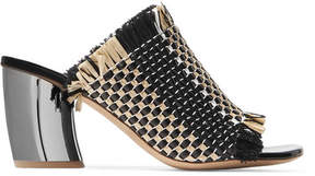 Proenza Schouler Woven Leather And Raffia Mules - Black