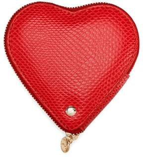 Aspinal of London Heart Coin Purse In Berry Lizard