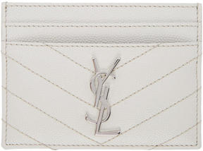 Saint Laurent White Quilted Monogram Card Holder - WHITE - STYLE