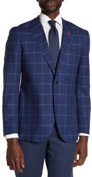 Tailorbyrd Kaius Plaid Notch Collar Long Sleeve Stretch Fit Jacket
