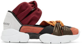 Emilio Pucci Orange and Grey Colorblock Knot Slip-On Sneakers