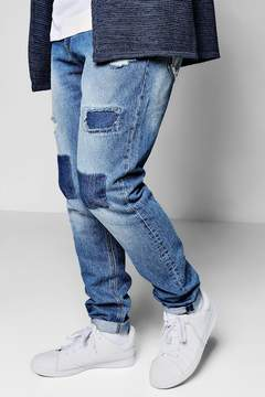boohoo Mid Blue Tonal Patchwork Jean In Tapered