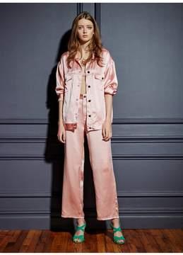 Fleur Du Mal | Oversized Silk Denim Jacket | L | Pink