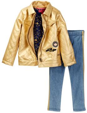 Betsey Johnson Star Print Tee, Metallic Jacket & Glitter Legging Set (Toddler Girls)