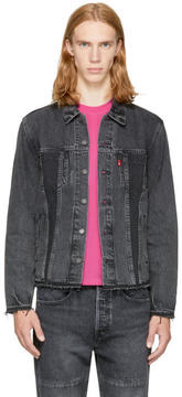 Levi's Levis Black Denim Altered Trucker Jacket