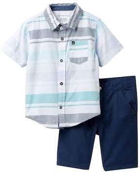 Calvin Klein Striped Woven Shirt & Twill Shorts Set (Little Boys)