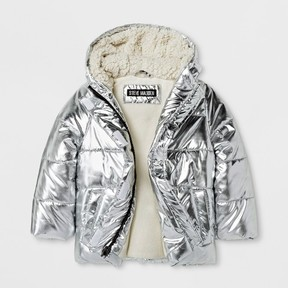 Stevies Toddler Girls' Puffer Jacket - Silver