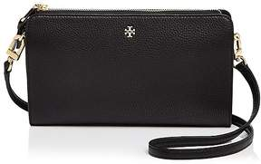 Tory Burch Robinson Pebbled Leather Wallet Crossbody - BLACK/GOLD - STYLE