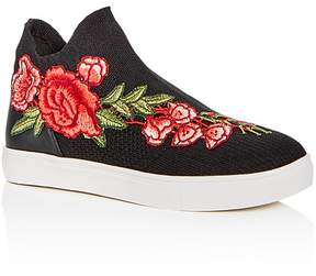 Steve Madden Girls' Floral Appliqué Knit High Top Sneakers - Little Kid, Big Kid
