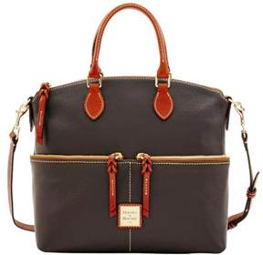 Dooney & Bourke Pebble Grain Double Pocket Satchel - CHOCOLATE - STYLE