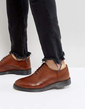 Asos Brogue Shoes In Tan Leather With Ribbed Sole