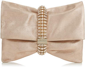 Jimmy Choo CHANDRA/M Ballet Pink Metallic Leather Clutch Bag with Maxi Crystal Bracelet