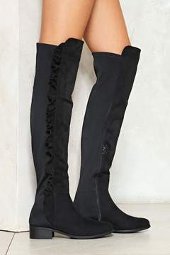 Nasty Gal nastygal Take No Chances Ruffle Knee-High Boot
