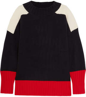 Chinti and Parker Patchwork Cashmere Sweater - Navy