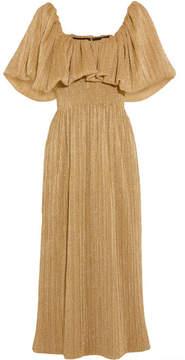 Emilia Wickstead Metallic Plissé-jersey Midi Dress - Gold