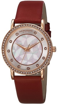 Akribos XXIV Mother Of Pearl Dial Red Leather Ladies Watch