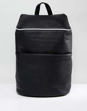 Asos Backpack In Black Faux Leather With Zip Top