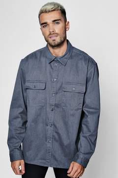 boohoo Grey Long Sleeve Double Pocket Denim Overshirt