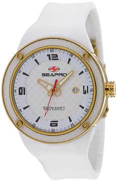 Seapro Driver Mens White Dial White Silicone Strap Watch