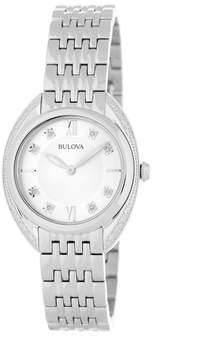 Bulova Women's Classic Diamond Silver Tone Bracelet Watch - 0.08 ctw