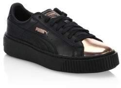 Puma Leather Basket Platform Metallic Sneakers