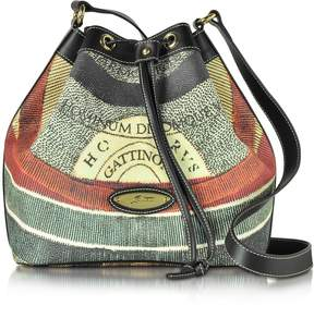 Gattinoni Planetarium Coated Canvas and Leather Bucket Bag