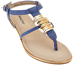 Rialto As Is T-strap Sandals with Hardware Detail - Renegade