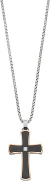 Lynx Men's Two Tone Stainless Steel Cross Pendant Necklace