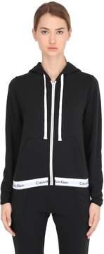 Calvin Klein Underwear Logo Trim Zip-Up Cotton Sweatshirt